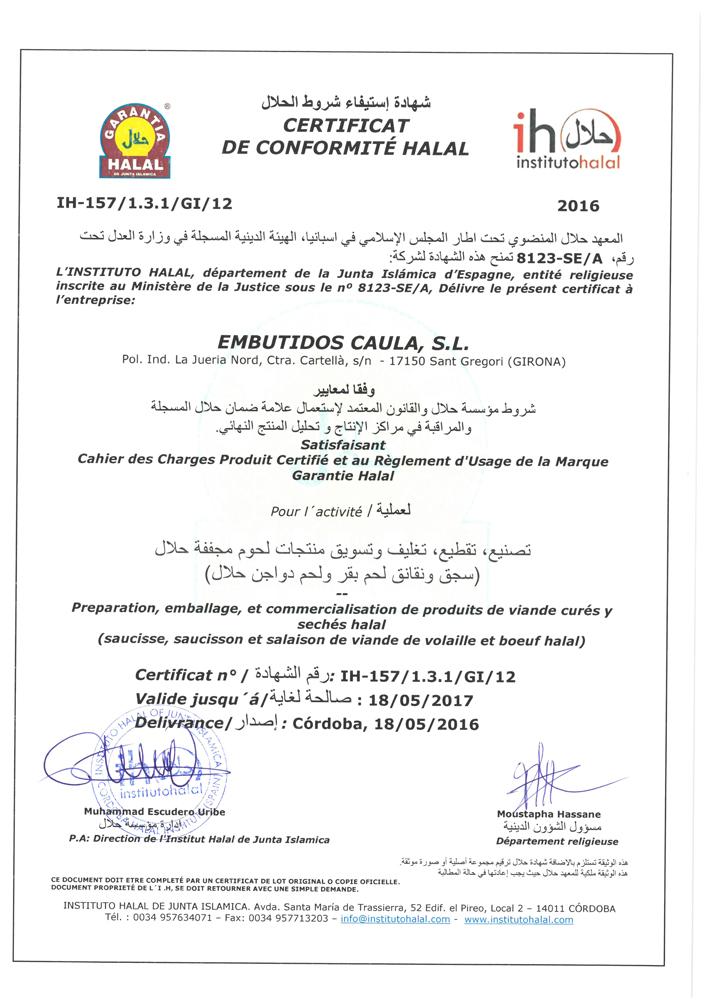 Certificat de Conformité Halal