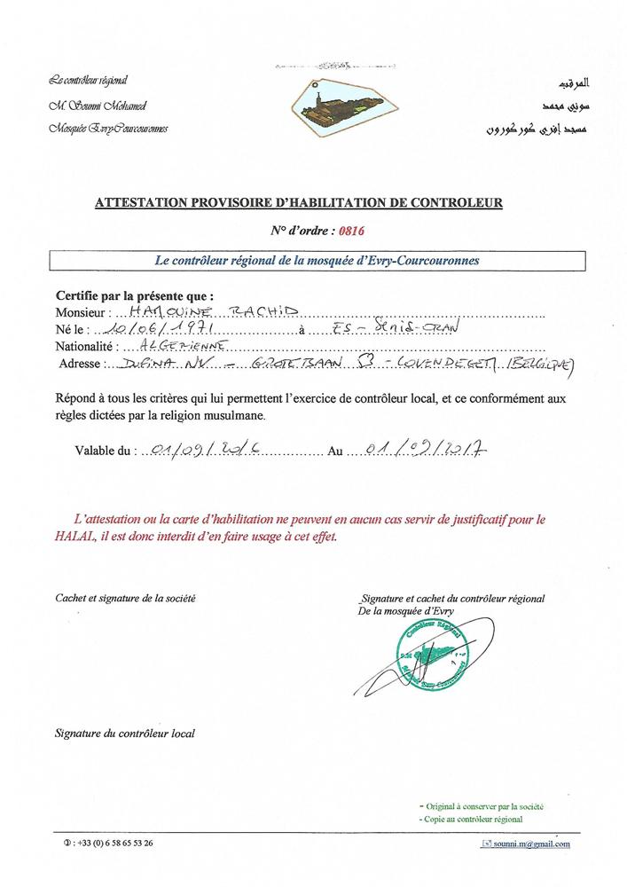 Attestation Provisoire d\'Habilitation de Contrôleur