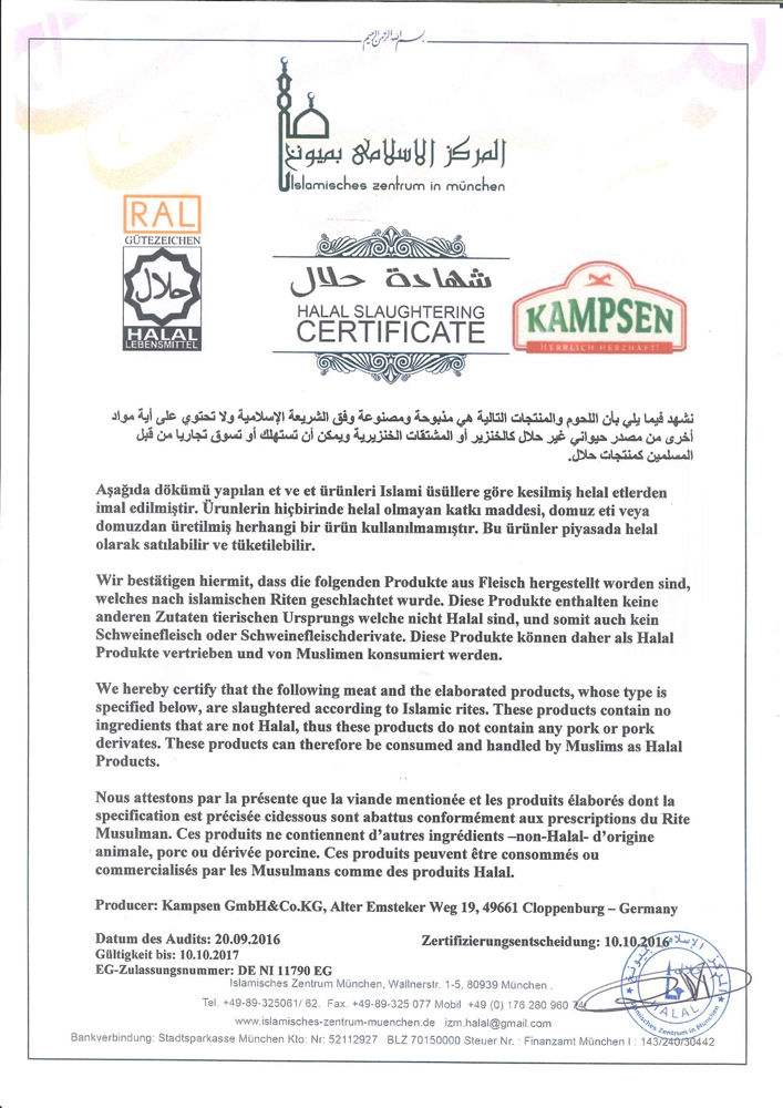 Halal Slaughtering Certificate